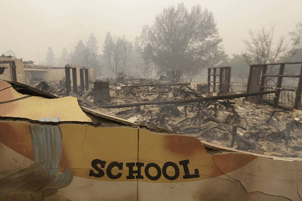 Paradise Elementary school is seen in a Friday, Nov. 9, 2018 file photo, in Paradise, Calif. Monday, Dec. 3, Monday marks a return to school and some semblance of routine for thousands of children ...