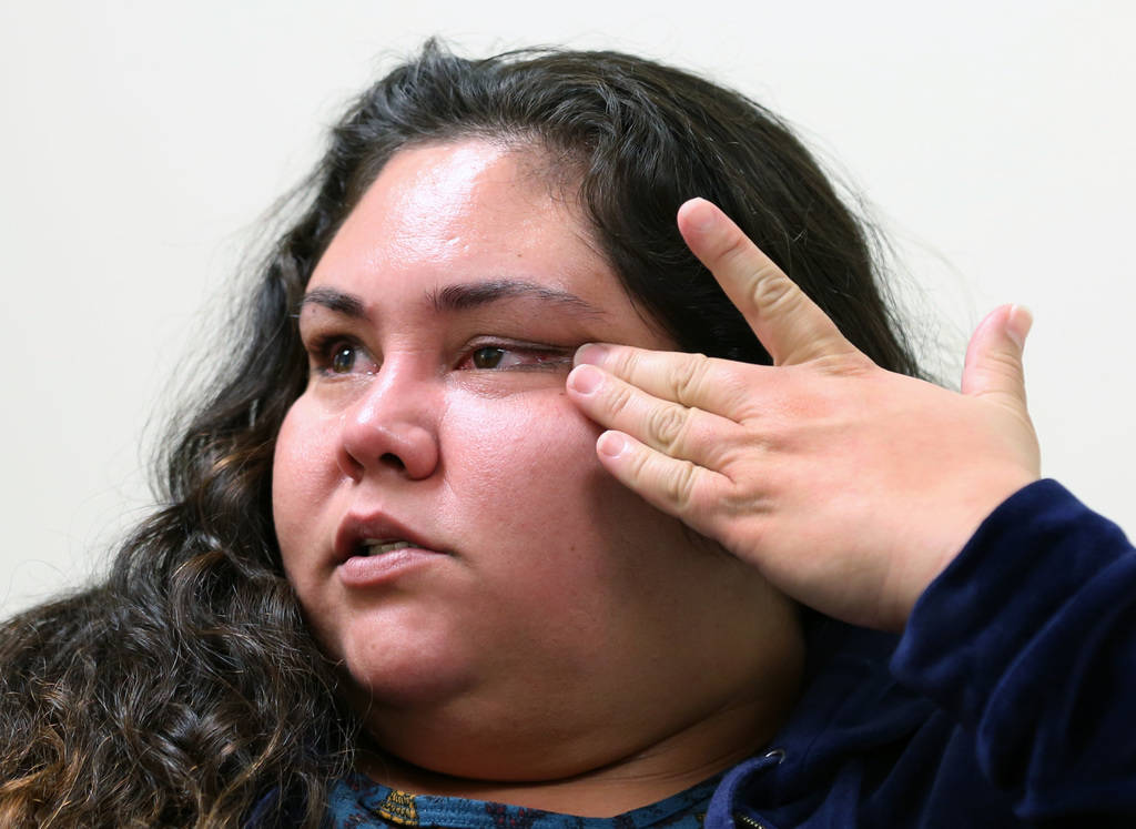 Vanessa Macias weeps as she speaks Monday, Dec. 3, 2018, during an interview with the Las Vegas Review-Journal about her 1-year-old son Roman Ludice, who was born Dec. 13, 2017 and has been at Sun ...