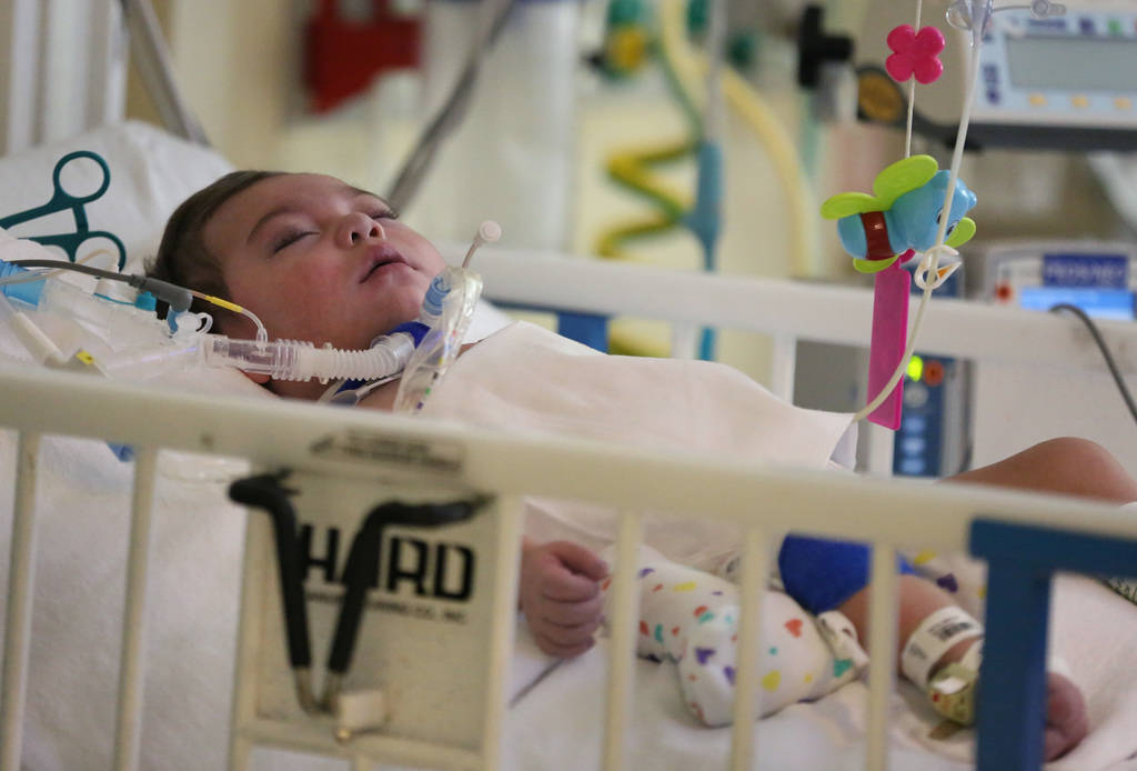 One-year-old Roman Ludice at his hospital bed at Sunrise Children's Hospital on Monday, Dec. 3, 2018, in Las Vegas. Ludice was born Dec. 13, 2017 and has been at the hospital with a rare heart con ...