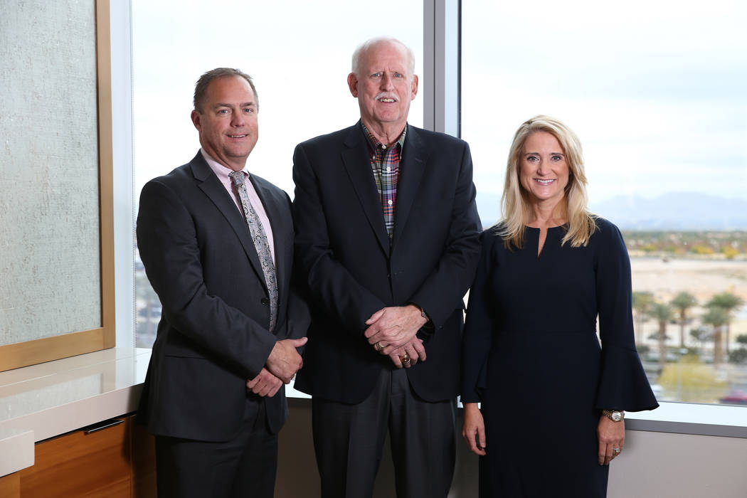 Attorneys from left, Bob Gronauer, Chris Kaempfer, and Jennifer Lazovich, at the Kaempfer Crowell law office in Las Vegas, Thursday, Dec. 6, 2018. Erik Verduzco Las Vegas Review-Journal @Erik_Ver ...