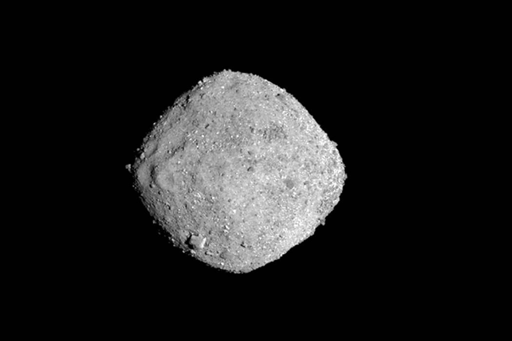 This Nov. 16, 2018, image provide by NASA shows the asteroid Bennu. After a two-year chase, a NASA spacecraft has arrived at the ancient asteroid Bennu, its first visitor in billions of years. The ...
