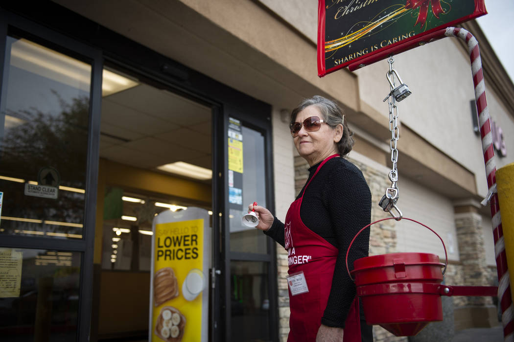 Esther Mowtelro stands outside of Smith's as she waits to accept donations for the Salvation Army in Las Vegas, Wednesday, Dec. 5, 2018. Caroline Brehman/Las Vegas Review-Journal
