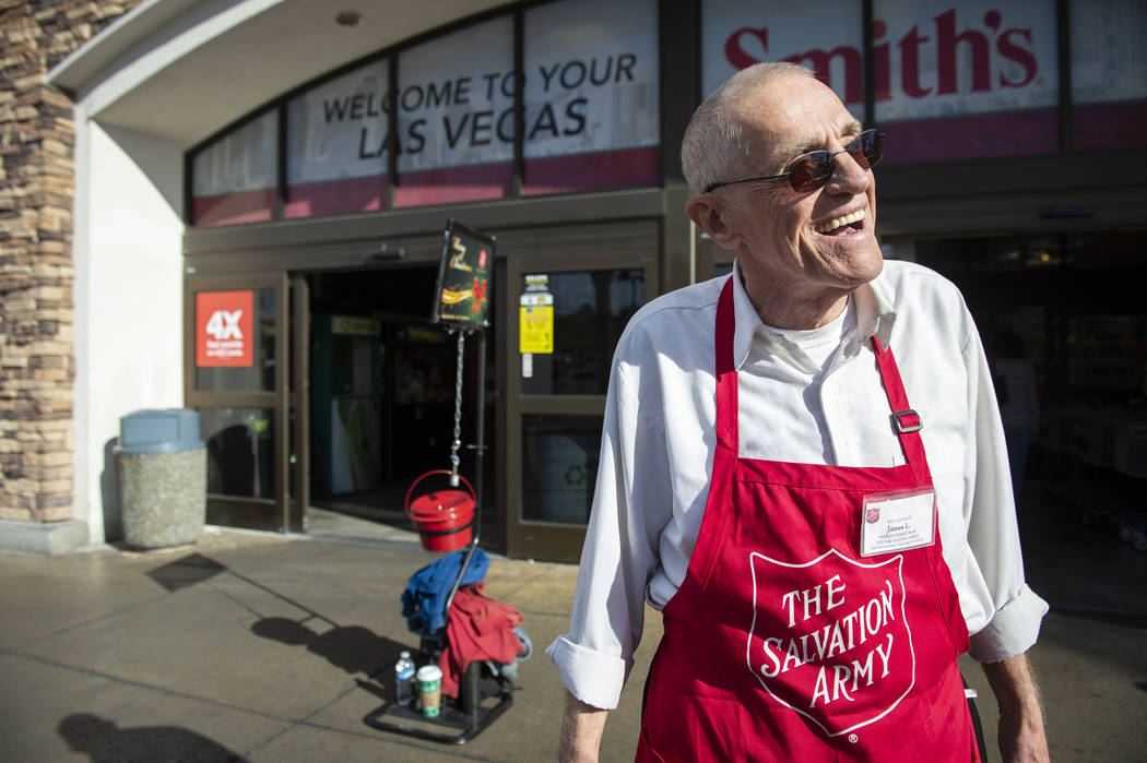 James Liebmann accepts donations for the Salvation Army in front of Smith's in Las Vegas, Wednesday, Nov. 28, 2018. Caroline Brehman/Las Vegas Review-Journal