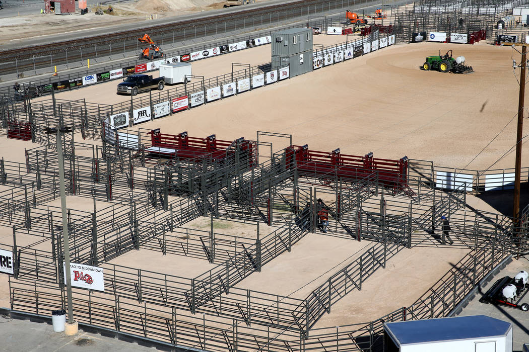 Workers prepare for the opening of Core Arena, a permanent outdoor equestrian center at the Plaza in downtown Las Vegas, Tuesday, Dec. 4, 2018. K.M. Cannon Las Vegas Review-Journal @KMCannonPhoto