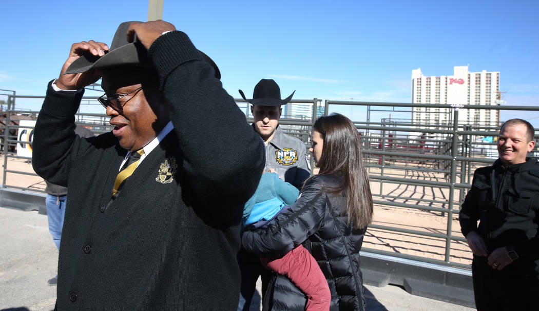 Las Vegas Councilman Cedric Crear prepares for the opening of Core Arena, a permanent outdoor equestrian center at the Plaza in downtown Las Vegas, Tuesday, Dec. 4, 2018. K.M. Cannon Las Vegas Rev ...