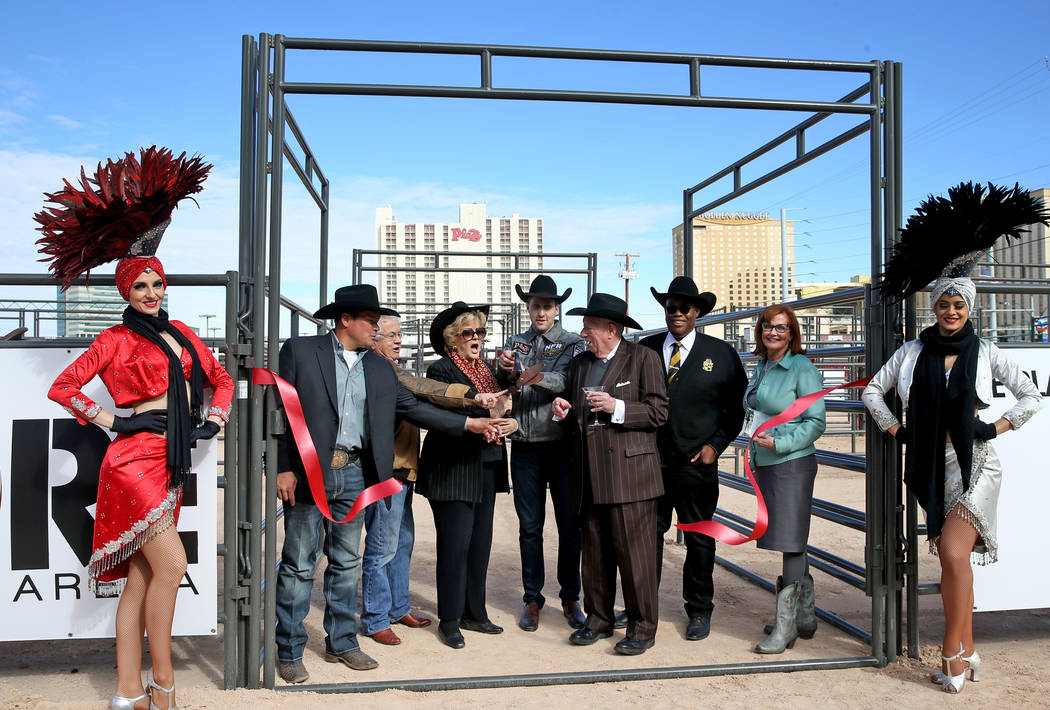 Dignitaries accidentally cut the ribbon early during the opening of Core Arena at the Plaza in downtown Las Vegas Tuesday, Dec. 4, 2018. Pictured, from left, are showgirl Elyse Corbin, rodeo cowbo ...
