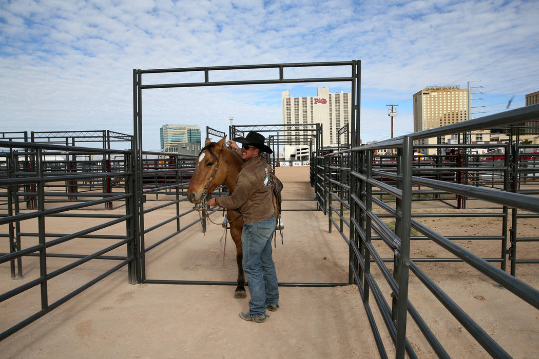 Pickup rider Jared Groen, right, after the opening of Core Arena at the Plaza in downtown Las Vegas Tuesday, Dec. 4, 2018. The permanent outdoor equestrian center will also host other outdoor even ...