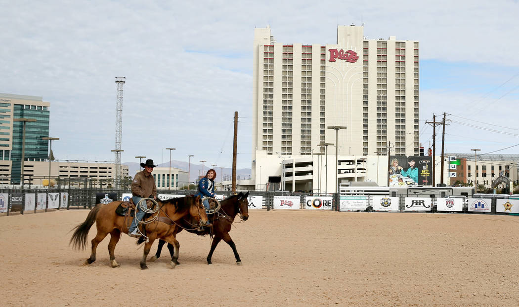 Riders after the opening of Core Arena at the Plaza in downtown Las Vegas Tuesday, Dec. 4, 2018. The permanent outdoor equestrian center will also host other outdoor events when the National Final ...