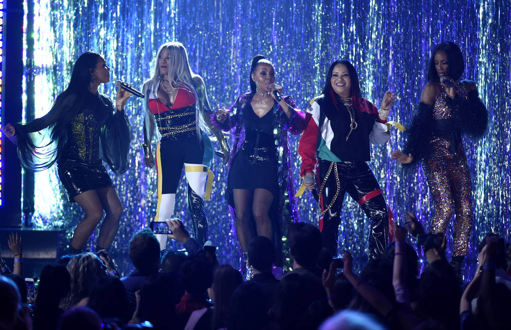 Sandra Jacqueline Denton, also known as Pepa, second from left, and Cheryl Renee James, also known as Salt, second from right, of Salt-N-Pepa, and Cindy Herron, from left, Terry Ellis and Rhona Be ...