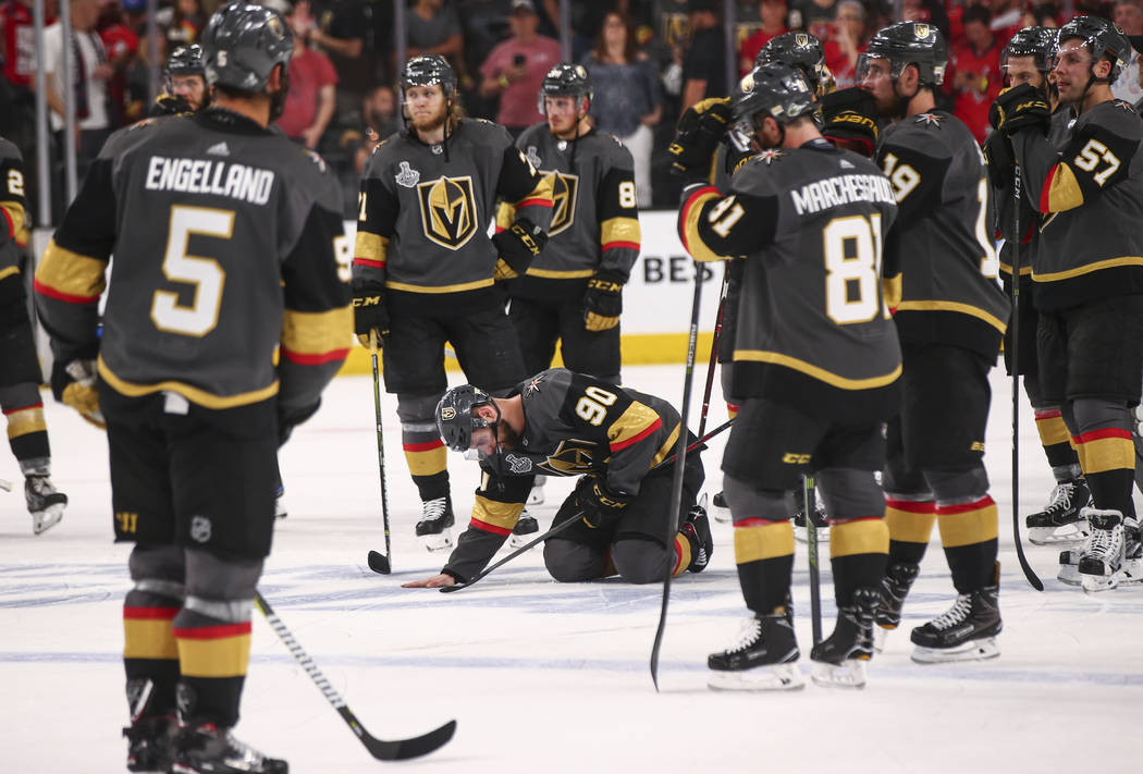 Golden Knights players react after losing in Game 5 of the Stanley Cup Final to the Washington Capitals at T-Mobile Arena in Las Vegas on Thursday, June 7, 2018. Chase Stevens Las Vegas Review-Jou ...