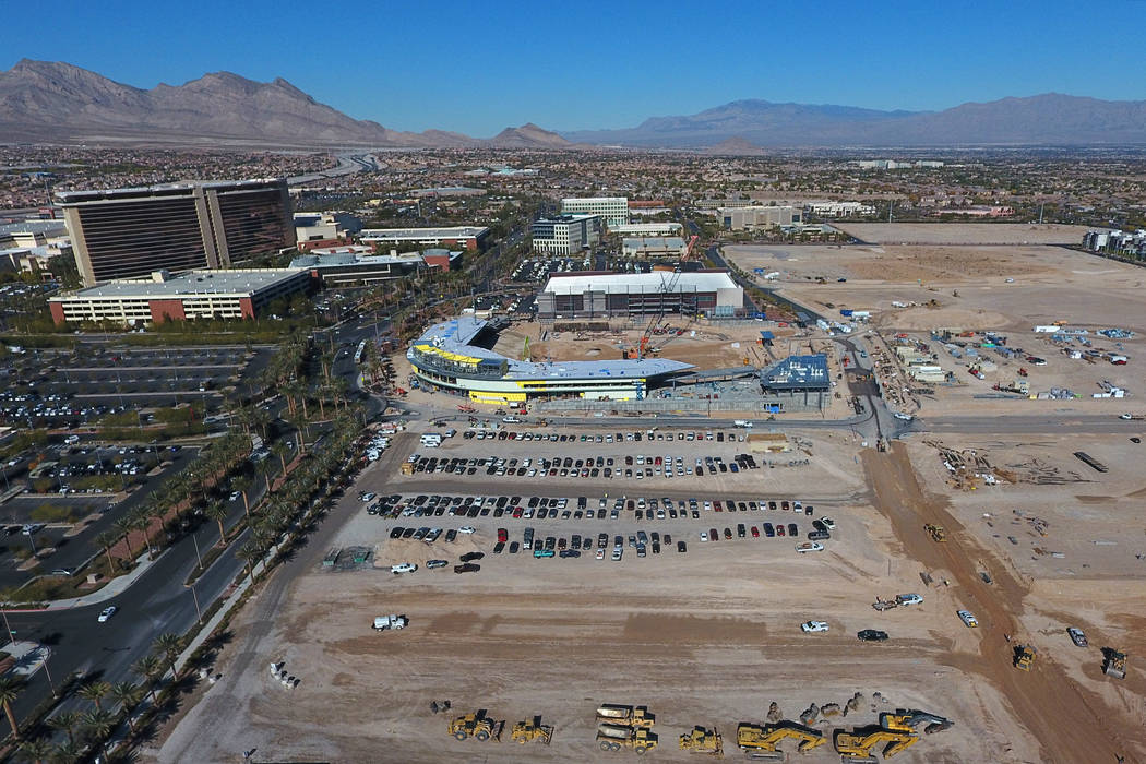 Aerial view of vacant land just south of the Las Vegas Ballpark where Summerlin developer Howard Hughes Corp. has filed plans for a 14-story, 267-room hotel that would feature a restaurant, roofto ...