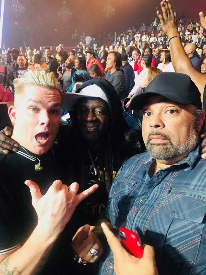 "Mark McGrath, Flavor Flav and Frank DiMaggio are shown at ""I Love The '90s -- The Vegas Show"" at Paris Theater on Monday, Dec. 2, 2018. (Frank DiMaggio)"