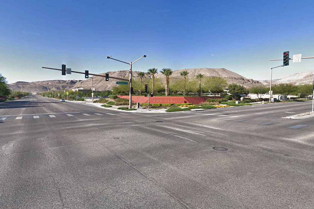 The intersection of South Hualapai Way and West Russell Road. Google Street View.