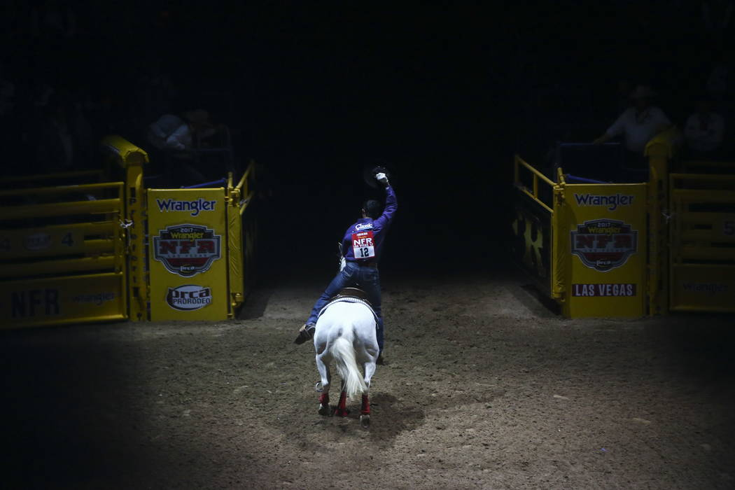 Junior Nogueira is introduced during the opening ceremony on the first night of the National Finals Rodeo at the Thomas & Mack Center in Las Vegas on Thursday, Dec. 7, 2017. Chase Stevens Las ...