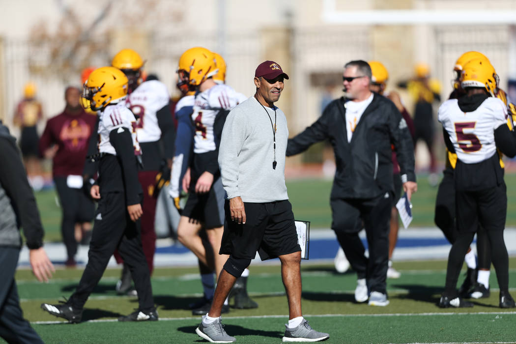 Arizona State University football head coach Herm Edwards during a team practice at Bishop Gorman High School in Las Vegas, Wednesday, Dec. 12, 2018. Erik Verduzco Las Vegas Review-Journal @Erik_V ...