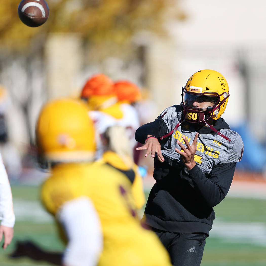 Arizona State University quarterback Manny Wilkins throws the ball during a team practice at Bishop Gorman High School in Las Vegas, Wednesday, Dec. 12, 2018. Erik Verduzco Las Vegas Review-Journa ...