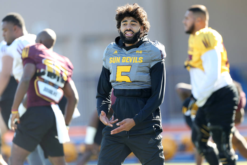 Arizona State University quarterback Manny Wilkins during a team practice at Bishop Gorman High School in Las Vegas, Wednesday, Dec. 12, 2018. Erik Verduzco Las Vegas Review-Journal @Erik_Verduzco