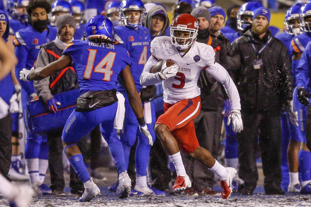 Fresno State wide receiver KeeSean Johnson (3) runs with the ball against Boise State in the second half of an NCAA college football game for the Mountain West championship, Saturday, Dec. 1, 2018 ...