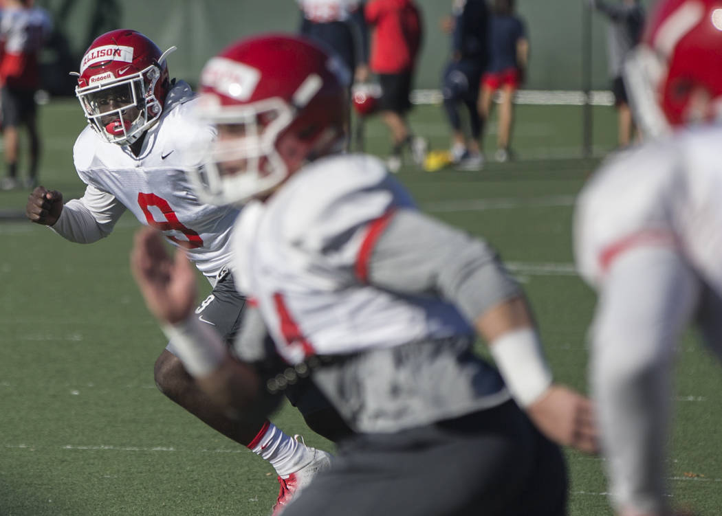 Fresno State linebacker Jeff Allison (9) works through a drill during practice on Monday, Dec. 11, 2018, at Rebel Park, in Las Vegas. Benjamin Hager Las Vegas Review-Journal