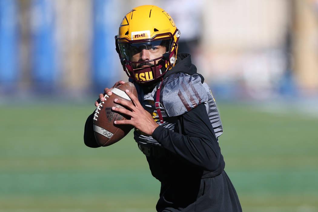 Arizona State University quarterback Manny Wilkins during a team practice at Bishop Gorman High School in Las Vegas, Wednesday, Dec. 12, 2018. Erik Verduzco Las Vegas Review-Journal @Erik_Verduzco
