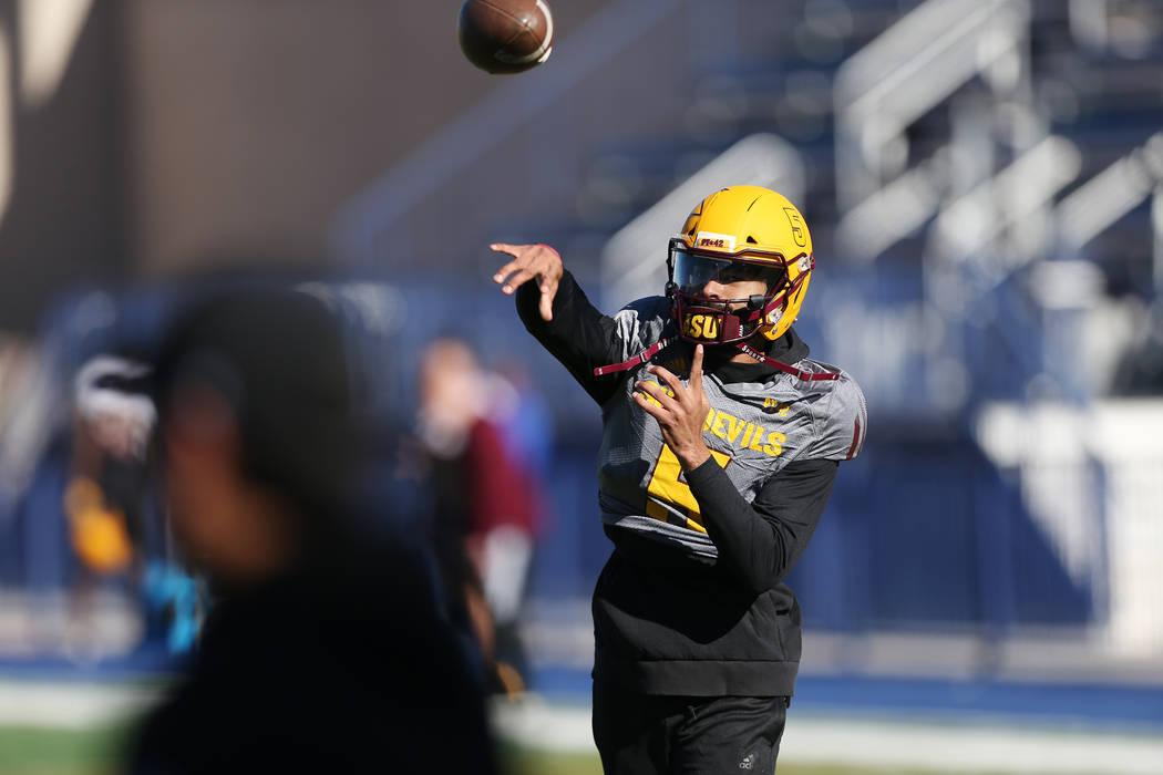 Arizona State University quarterback Manny Wilkins throws the ball during a team practice at Bishop Gorman High School in Las Vegas, Wednesday, Dec. 12, 2018. Erik Verduzco Las Vegas Review-Journa ...