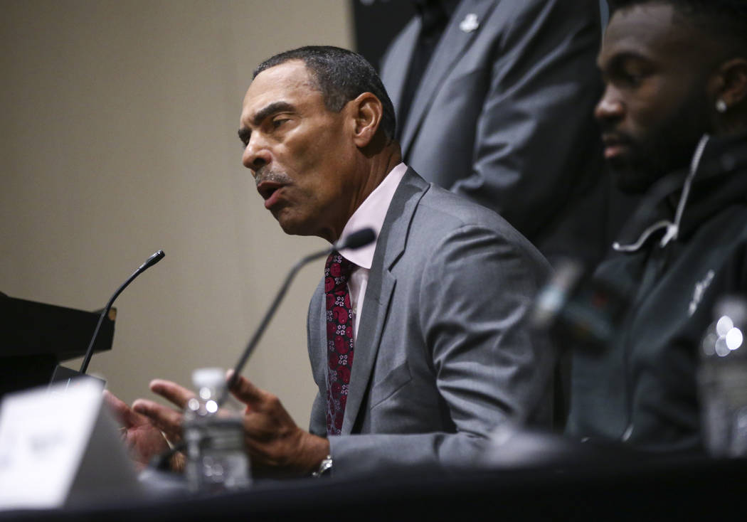 Arizona State head coach Herm Edwards speaks during a press conference ahead of the Las Vegas Bowl at Hard Rock Hotel in Las Vegas on Friday, Dec. 14, 2018. Chase Stevens Las Vegas Review-Journal ...