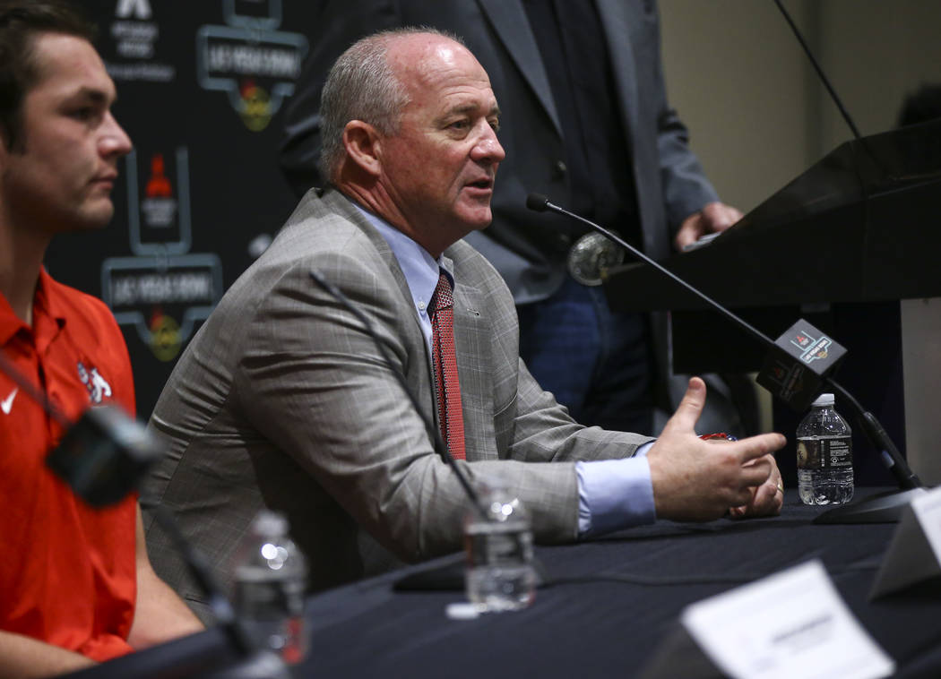 Fresno State head coach Jeff Tedford speaks during a press conference ahead of the Las Vegas Bowl at Hard Rock Hotel in Las Vegas on Friday, Dec. 14, 2018. Chase Stevens Las Vegas Review-Journal @ ...