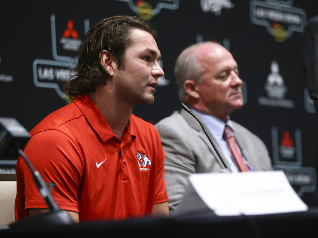 Fresno State linebacker George Helmuth speaks during a press conference ahead of the Las Vegas Bowl at Hard Rock Hotel in Las Vegas on Friday, Dec. 14, 2018. Chase Stevens Las Vegas Review-Journal ...