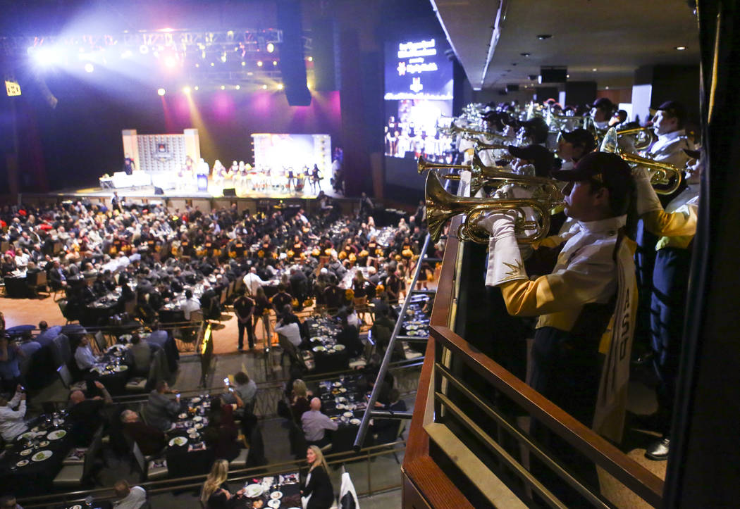 Members of the Arizona State marching band perform during the Las Vegas Bowl kickoff luncheon at The Joint at the Hard Rock Hotel in Las Vegas on Friday, Dec. 14, 2018. Chase Stevens Las Vegas Rev ...