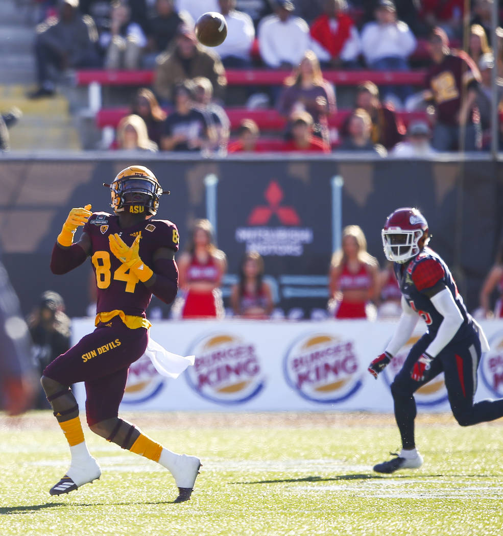 Arizona State wide receiver Frank Darby (84) eyes a pass during the first half of the Las Vegas Bowl football game against Fresno State at Sam Boyd Stadium in Las Vegas on Saturday, Dec. 15, 2018. ...