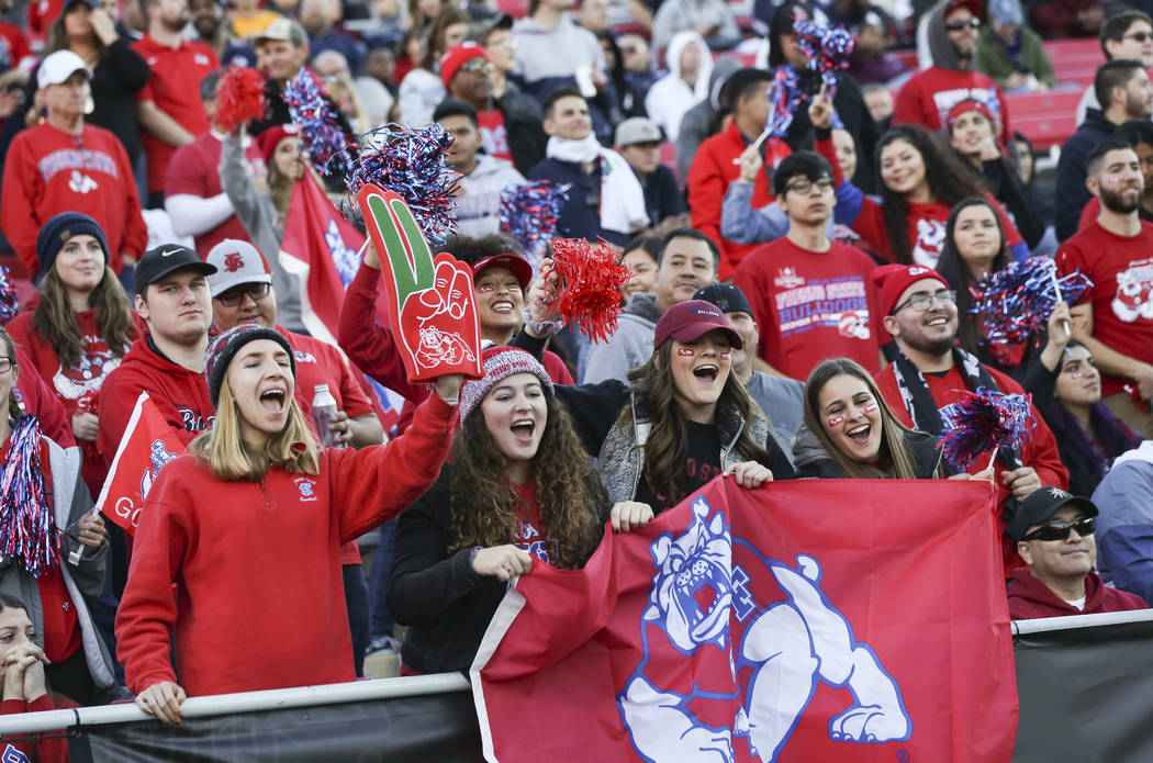 Fresno State fans cheer as their team leads against Arizona State during the second half of the Las Vegas Bowl football game at Sam Boyd Stadium in Las Vegas on Saturday, Dec. 15, 2018. Chase Stev ...