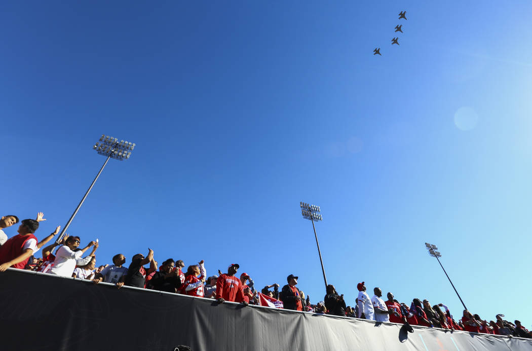 Attendees watch an Air Force flyover before the start of the Las Vegas Bowl football game at Sam Boyd Stadium in Las Vegas on Saturday, Dec. 15, 2018. Chase Stevens Las Vegas Review-Journal @csste ...