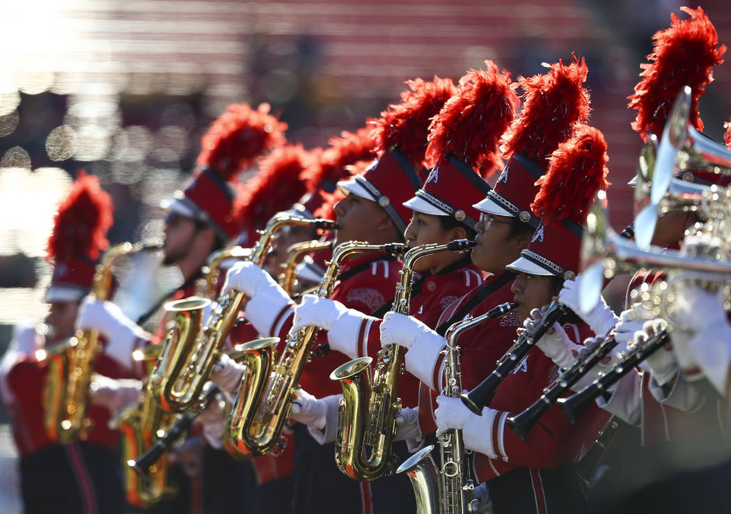 Members of the Fresno State marching band perform before the start of the Las Vegas Bowl football game against Arizona State at Sam Boyd Stadium in Las Vegas on Saturday, Dec. 15, 2018. Chase Stev ...