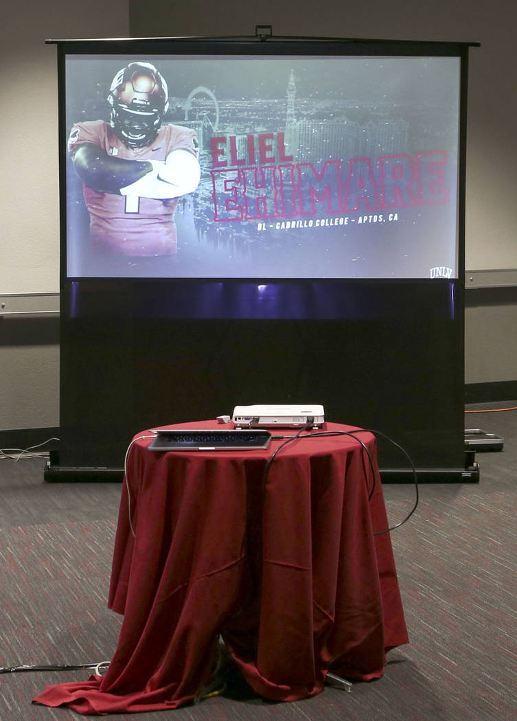 Eliel Ehimare of Cabrillo College is announced as a signee to UNLV football at the boardroom at the Thomas & Mack Center in Las Vegas on Wednesday, Dec. 19, 2018. Chase Stevens Las Vegas Revie ...