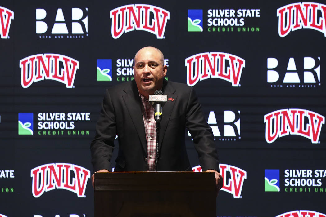 UNLV football coach Tony Sanchez announces early signees at the boardroom at the Thomas & Mack Center in Las Vegas on Wednesday, Dec. 19, 2018. Chase Stevens Las Vegas Review-Journal @cssteven ...