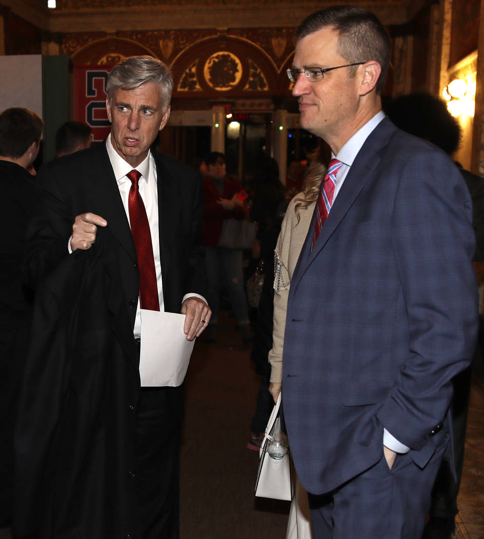 "Boston Red Sox CEO Sam Kennedy, right, and Dave Dombrowski, left, the team's president of baseball operations, arrive for the premiere of ""The 2018 World Series: Damage Done,"" documentar ..."