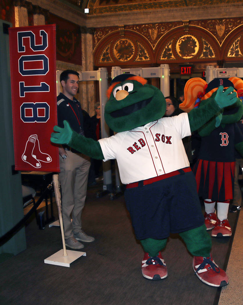 "Boston Red Sox mascot Wally the Green Monster walks the red carpet prior to the premiere of ""The 2018 World Series: Damage Done,"" documentary production that captures video moments of th ..."