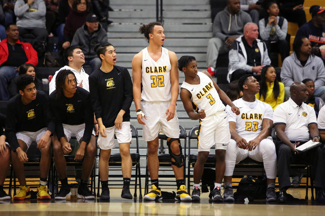 Clark senior forward Ian Alexander (32) stands up as he watches from the sidelines during a game against Durango at Clark High School in Las Vegas, Tuesday, Dec. 4, 2018. Caroline Brehman/Las Vega ...