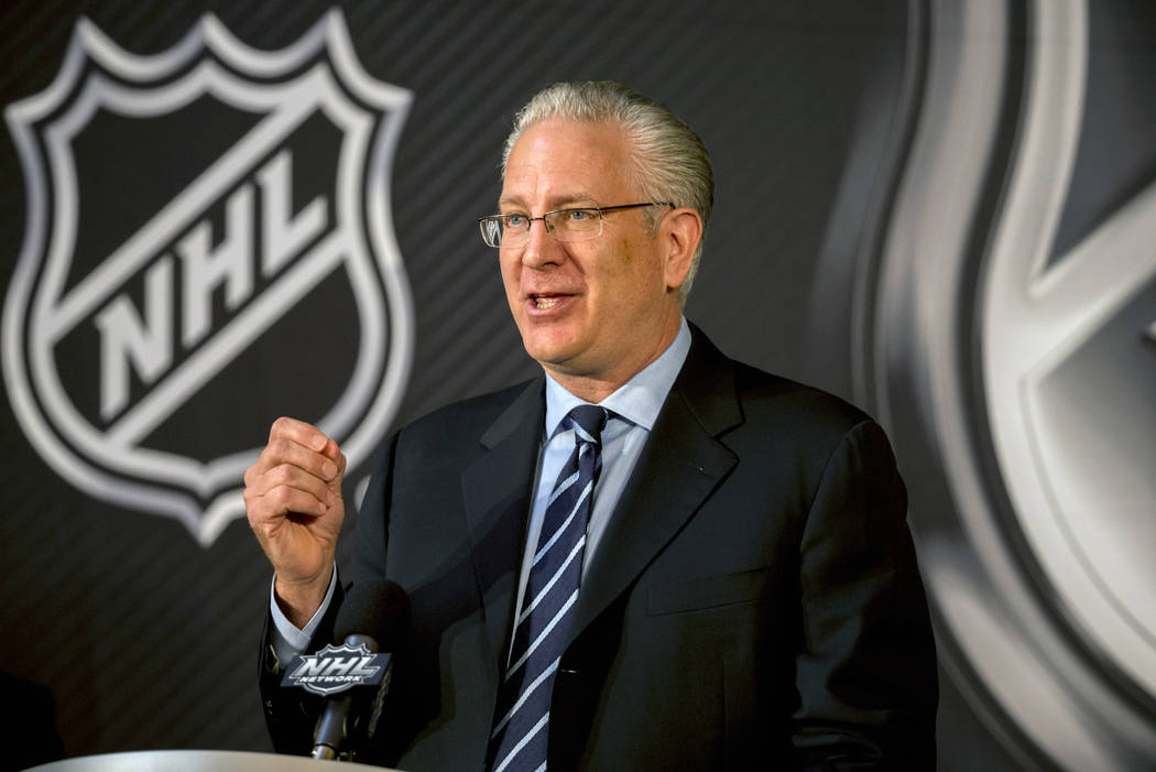 Seattle Hockey Partners President and CEO Tod Leiweke speaks after the NHL Board of Governors named Seattle as the league's 32nd franchise, Tuesday, Dec. 4, 2018, in Sea Island, Ga. (AP Photo/Step ...