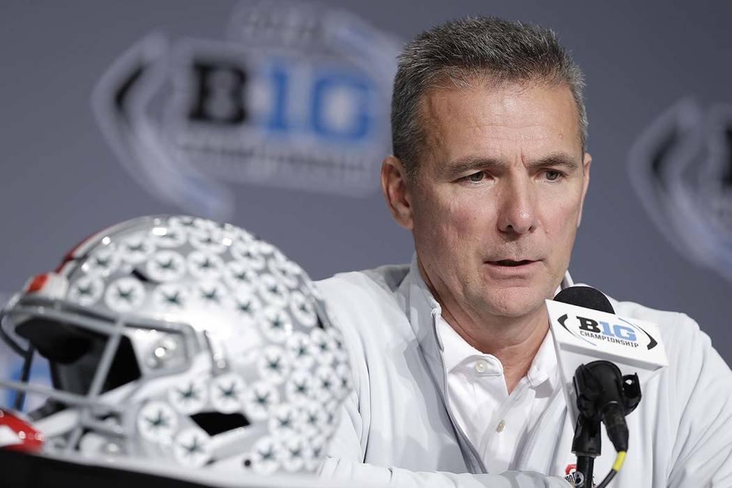 Ohio State head coach Urban Meyer speaks during a news conference for the Big Ten Conference championship NCAA college football game, Friday, Nov. 30, 2018, in Indianapolis. Meyer announced on Tue ...