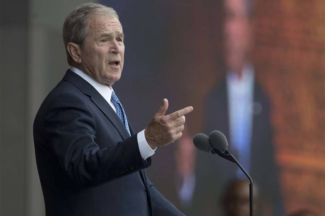 """Former President George W. Bush speaks in Washington in a Sept. 24, 2016, file photo. On Monday, Feb. 27, 2017, Bush said """"we all need answers"""" on the extent of contact between President Donald Tr ..."""