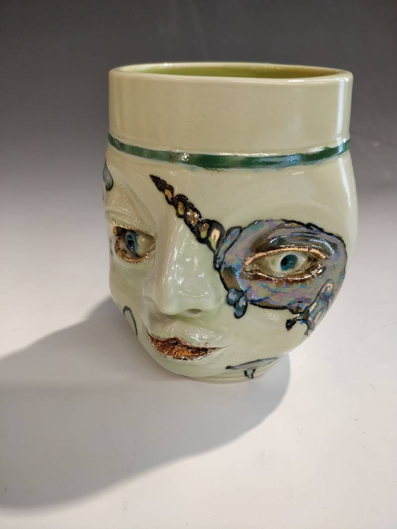 "Face cup by Thom Bumblauskas on display in the ""Fest-a-vous"" show. (Clay Arts Vegas)"