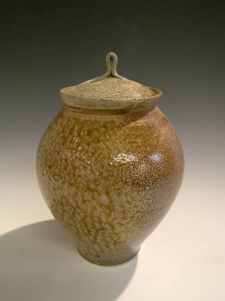 "Lidded jar by Amedeo Salamoni on display in the ""Fest-a-vous"" show. (Clay Arts Vegas)"