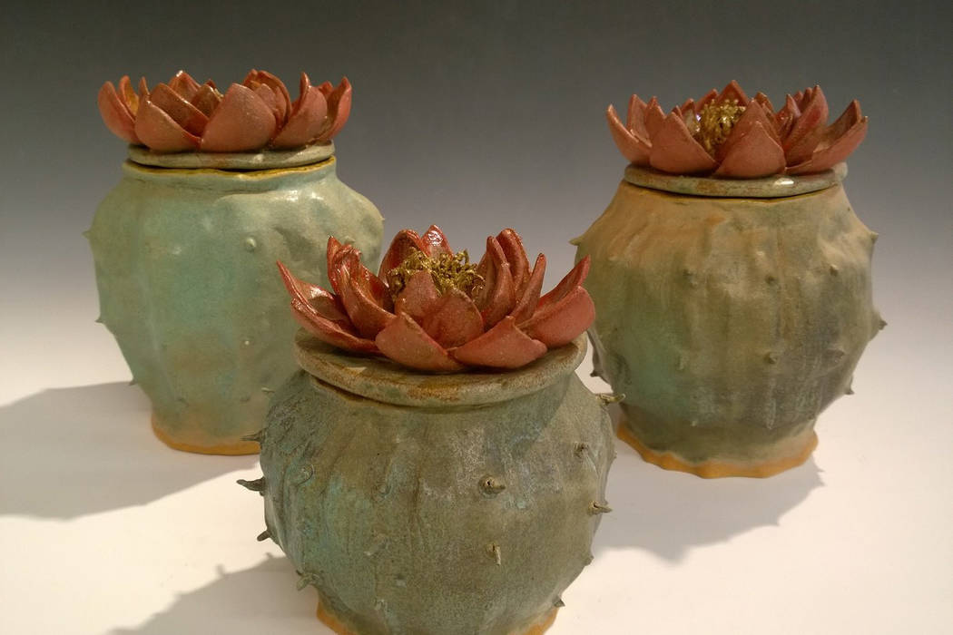 "Cactus Jars by Peter Jakubowski on display in the ""Fest-a-vous"" show. (Clay Arts Vegas)"