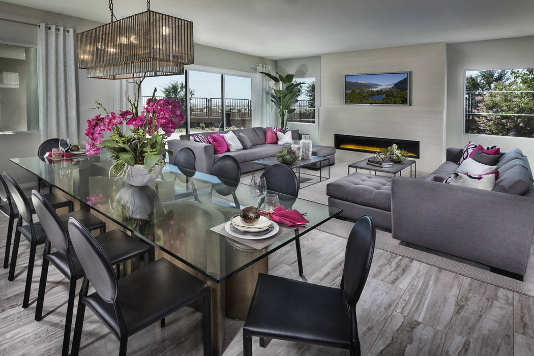 The great room inside a Lennar Terra home can be equipped with motorized shades and smart lighting from Lutron Caseta that can also be controlled by voice from Amazon Alexa. (Lennar)