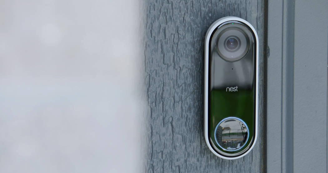 A Nest Hello Video doorbell at the front door of the KB Smart Home is equipped with facial recognition software. (KB Homes)