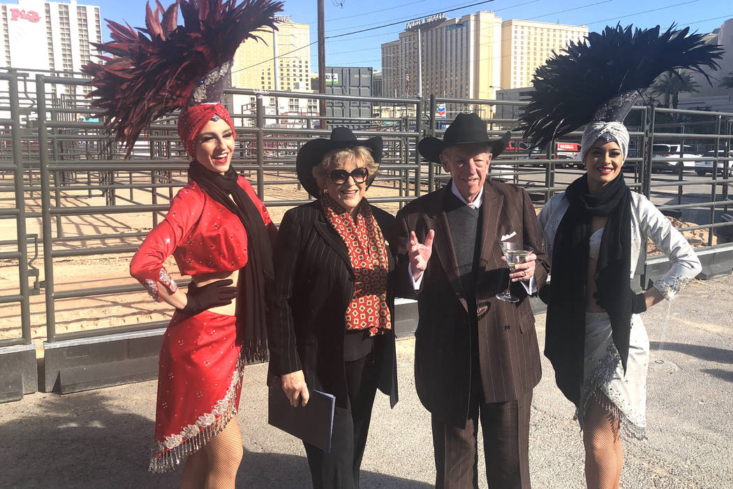 Las Vegas Mayor Carolyn Goodman and former Mayor Oscar Goodman are shown with showgirl models at the ribbon-cutting for Core Arena at the Plaza on Tuesday, Dec. 4, 2018. (John Katsilometes/Las Veg ...