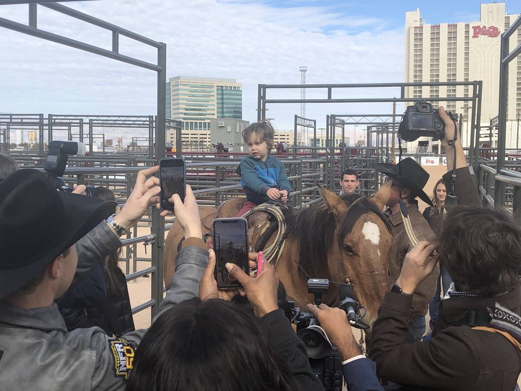 Noah Jossel, the 2 1/2-year-old son of Plaza CEO Jonathan Jossel and his wife, Emily, is shown on horseback at the ribbon-cutting for Core Arena at the Plaza on Tuesday, Dec. 4, 2018. (John Katsi ...