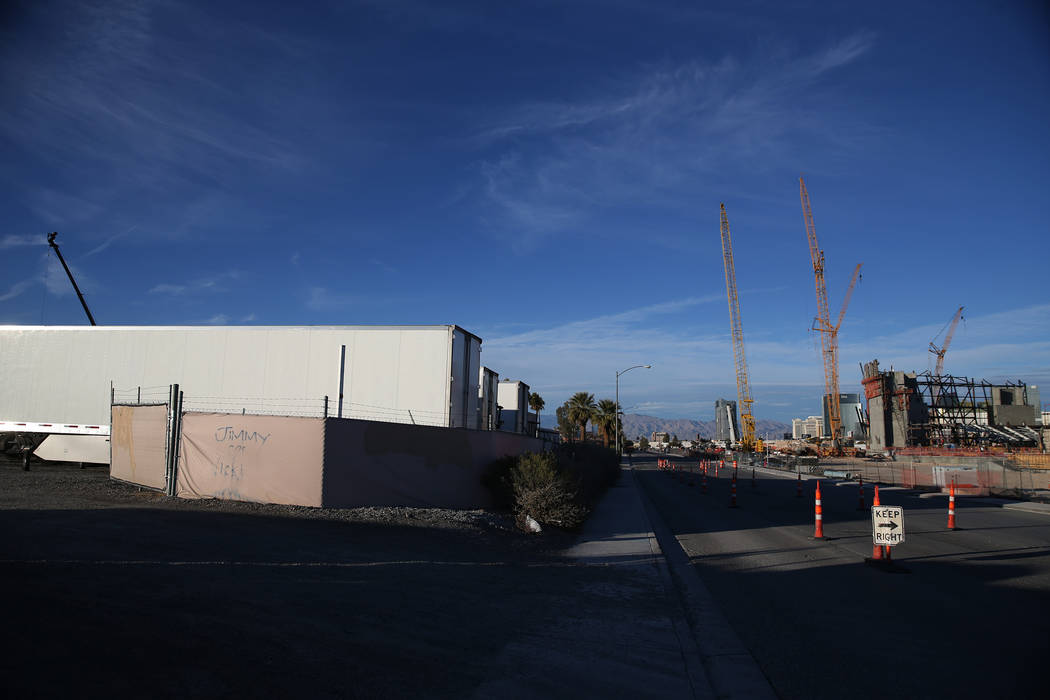 A lot at 5575 Polaris Ave., and across the street from the future site of the Raiders stadium, recently sold for $6.5 million, in Las Vegas, Tuesday, Dec. 4, 2018. Erik Verduzco Las Vegas Review-J ...