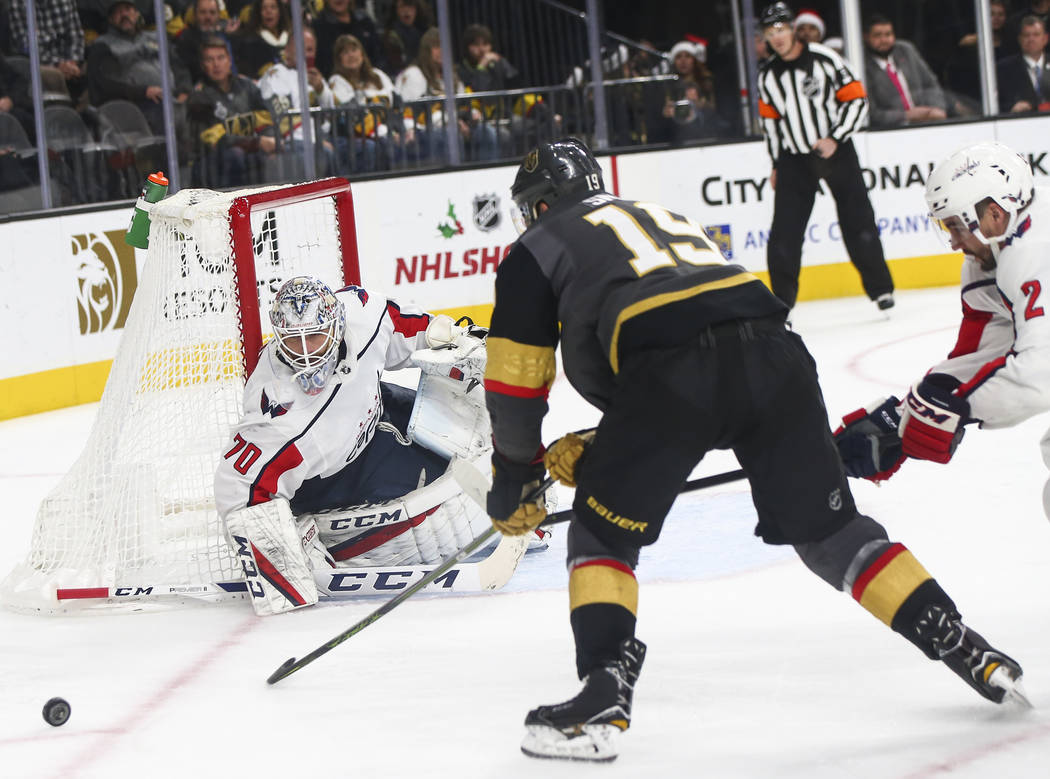 Golden Knights right wing Reilly Smith (19) during the third period of an NHL hockey game at T-Mobile Arena in Las Vegas on Tuesday, Dec. 4, 2018. Chase Stevens Las Vegas Review-Journal @csstevens ...